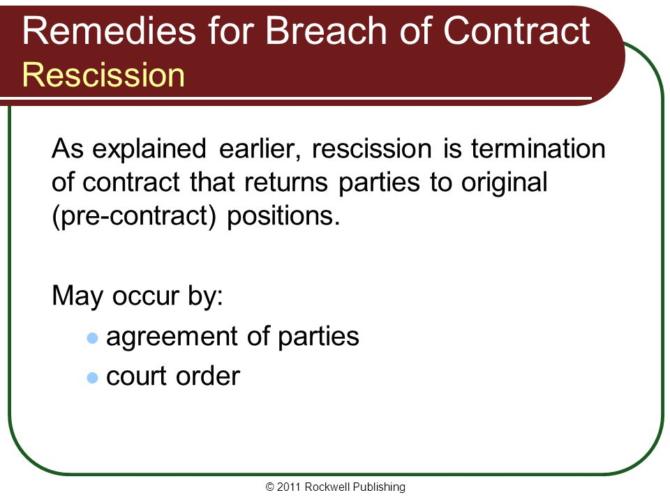 Remedies for Breach of Contract Rescission