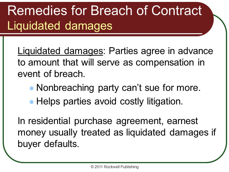 Remedies for Breach of Contract Liquidated damages