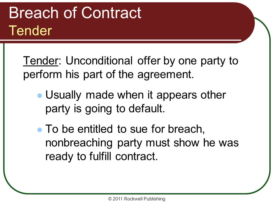 Breach of Contract Tender
