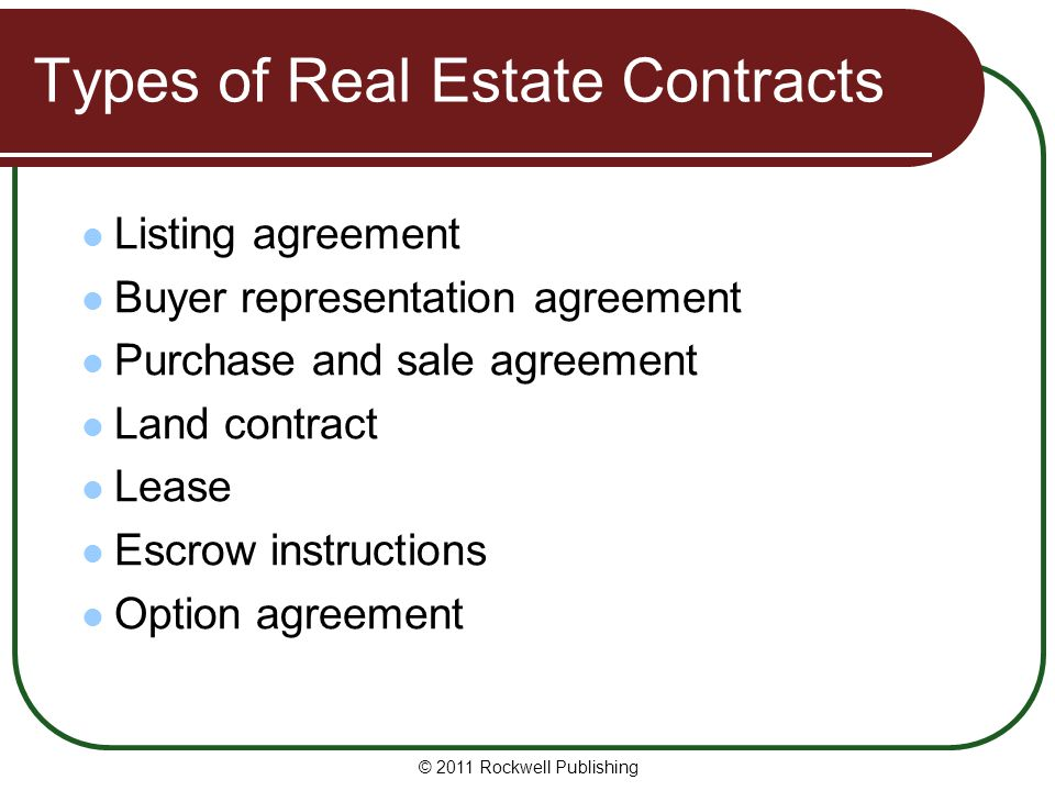 Types of Real Estate Contracts