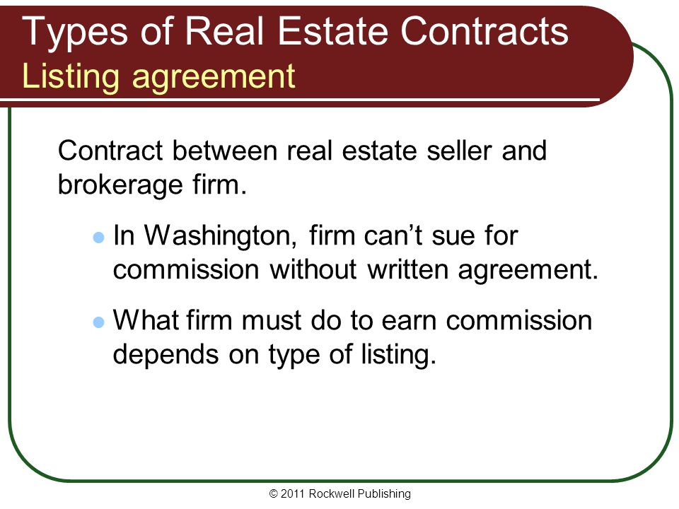 Types of Real Estate Contracts Listing agreement