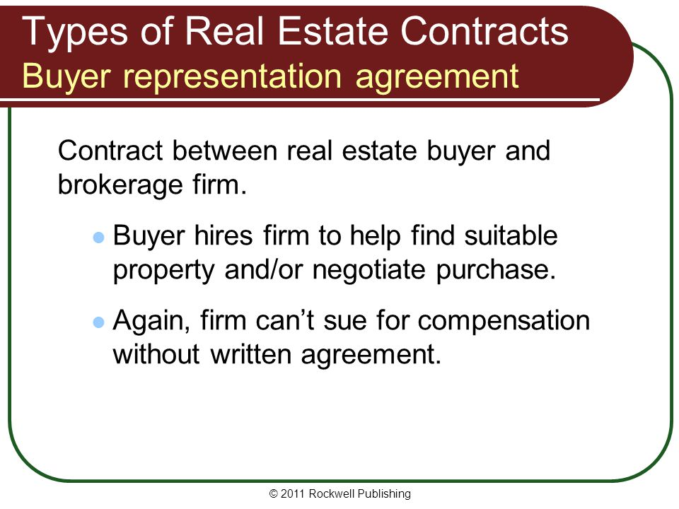 Types of Real Estate Contracts Buyer representation agreement