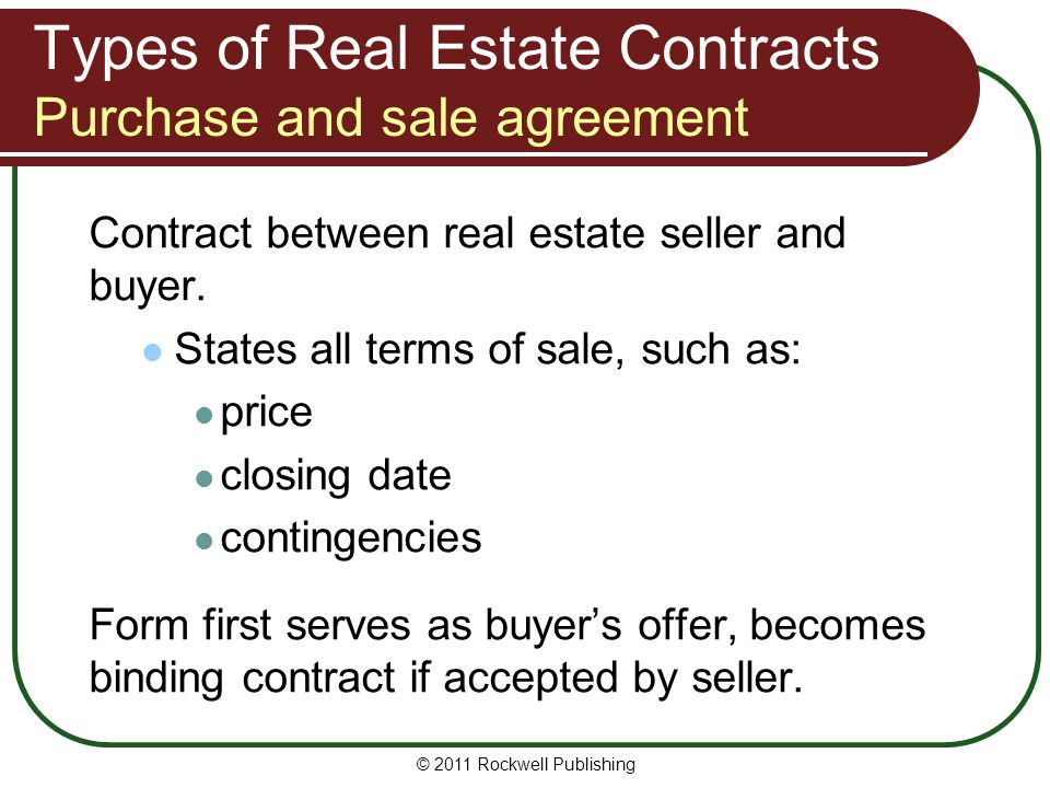 Types of Real Estate Contracts Purchase and sale agreement
