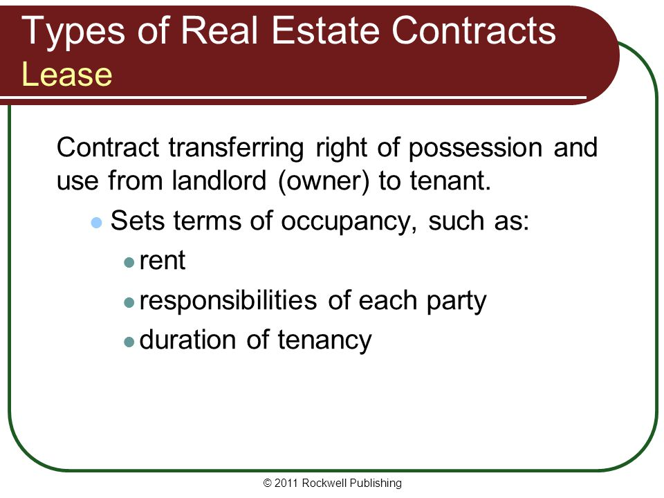 Types of Real Estate Contracts Lease