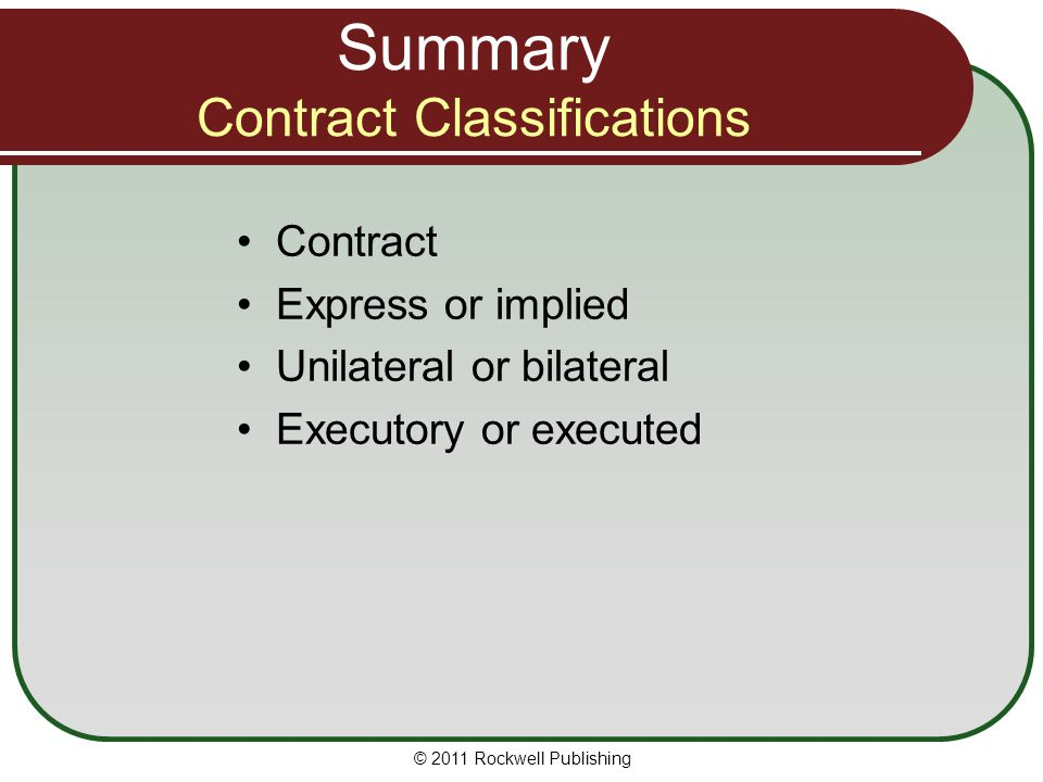 Summary Contract Classifications