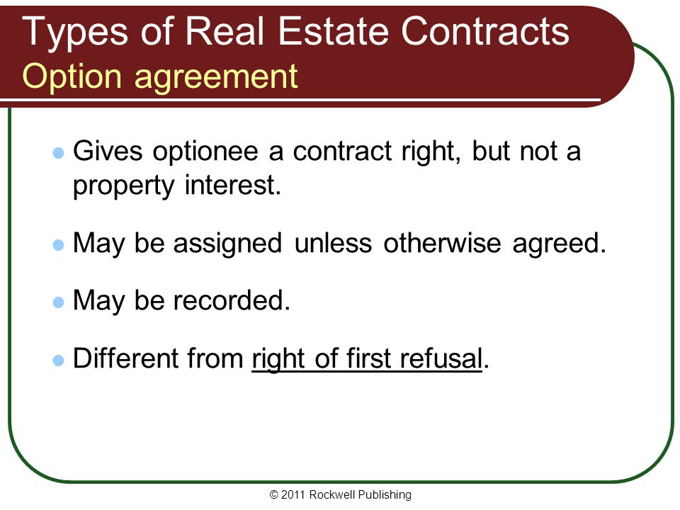 Types of Real Estate Contracts Option agreement