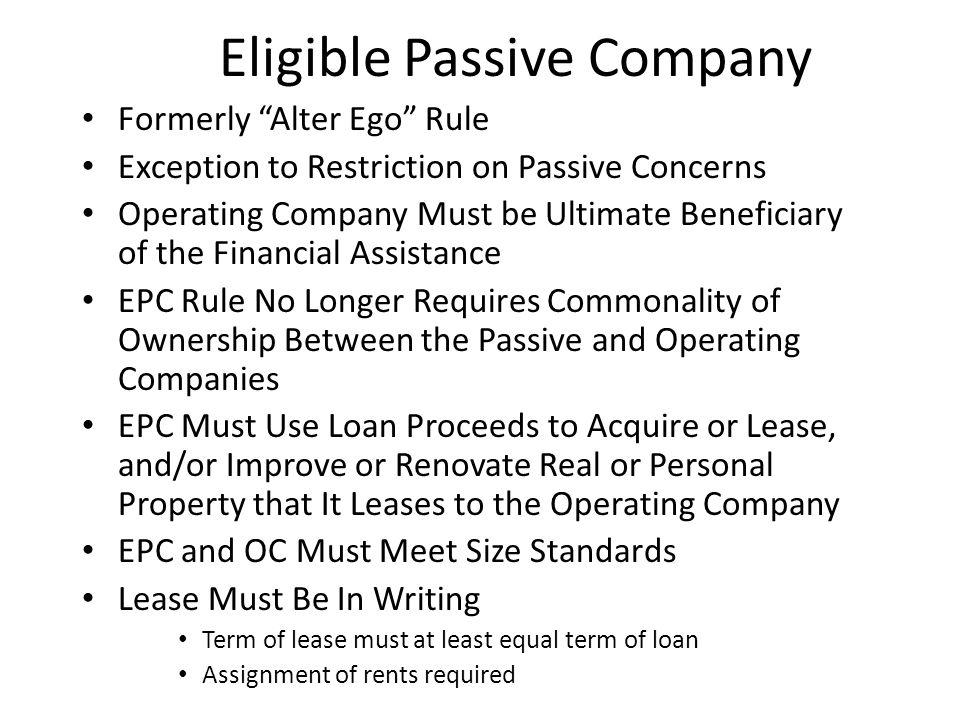 Eligible Passive Company
