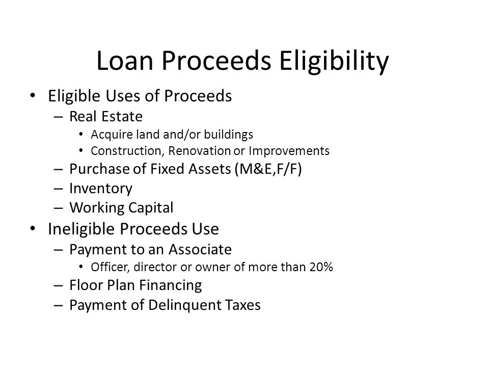 Loan Proceeds Eligibility