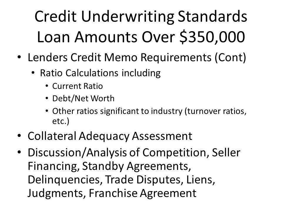 Credit Underwriting Standards Loan Amounts Over $350,000