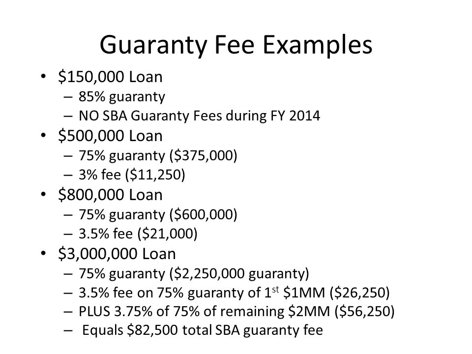 Guaranty Fee Examples $150,000 Loan $500,000 Loan $800,000 Loan