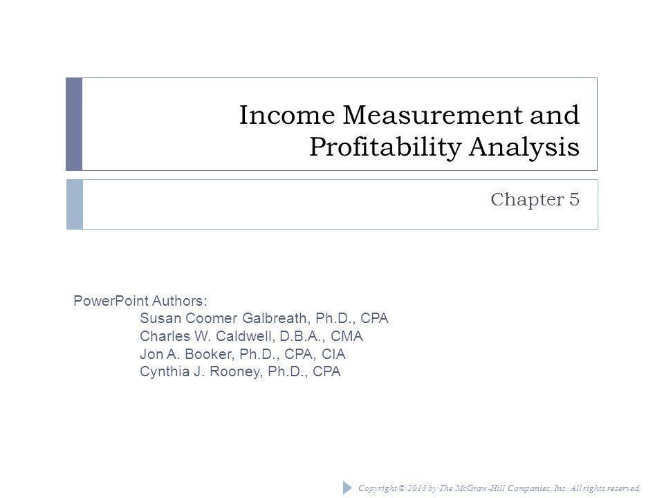 Income Measurement and Profitability Analysis