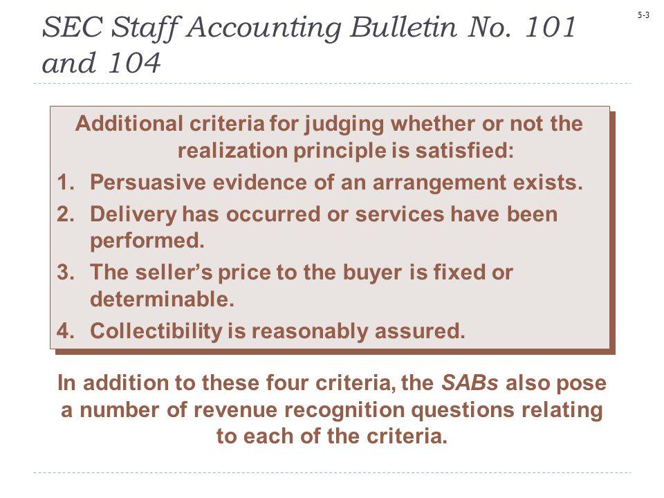 SEC Staff Accounting Bulletin No. 101 and 104