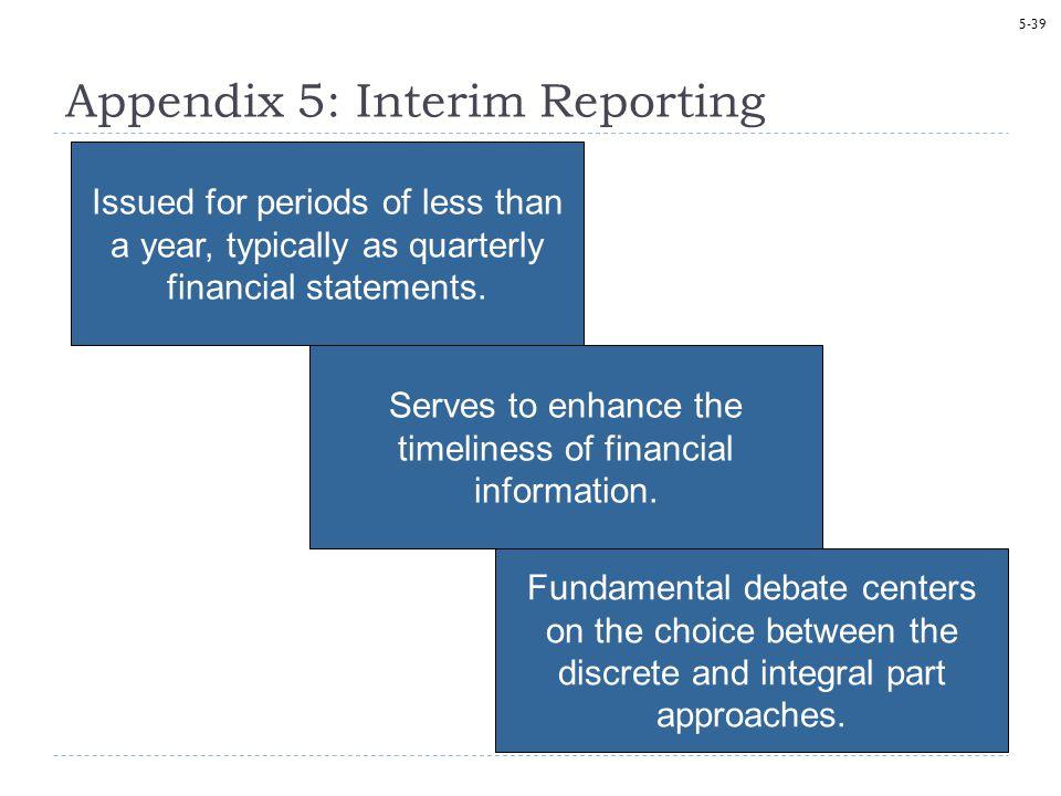 Appendix 5: Interim Reporting