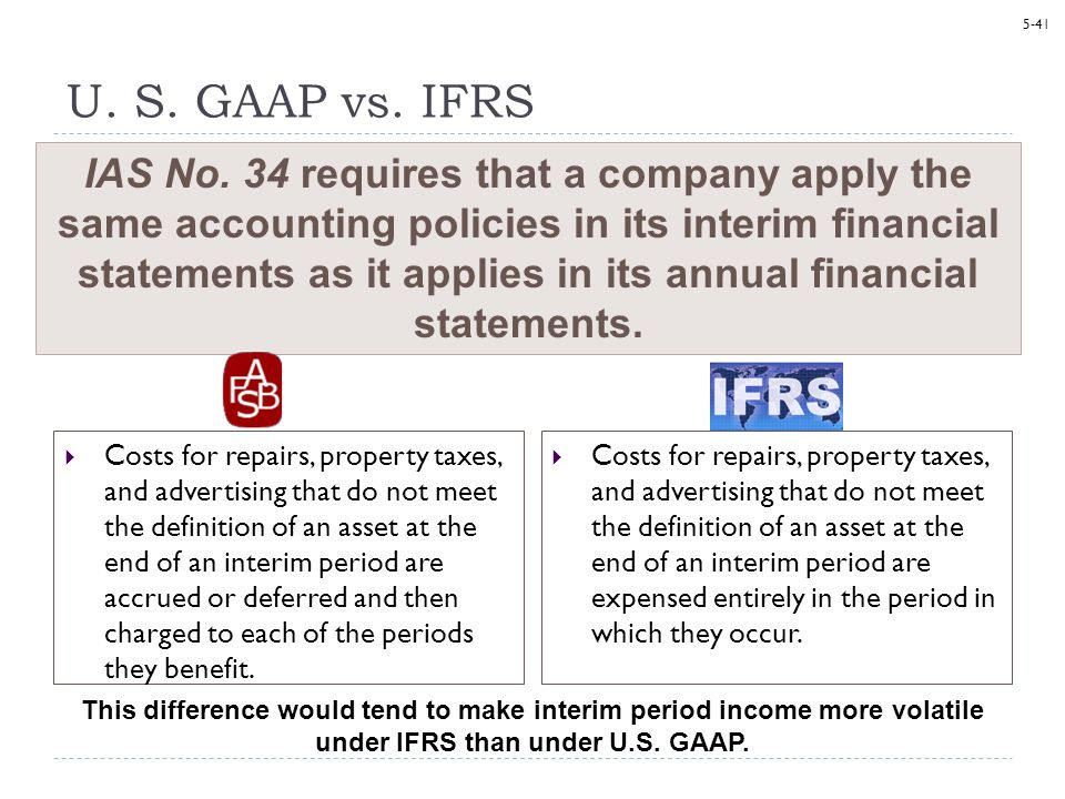 ifrs vs u s gaap differences and Subject 7 comparison of ifrs and us gaap quiz 5  ifrs: tax basis is  generally the amount deductible or taxable for tax purposes the manner in  which.