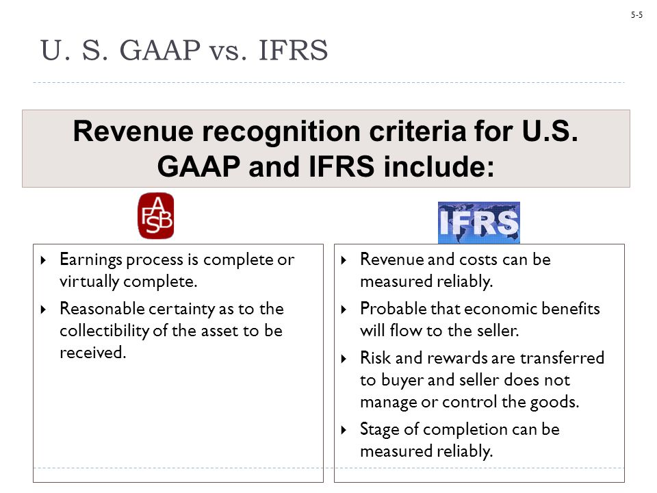 Revenue recognition criteria for U.S. GAAP and IFRS include: