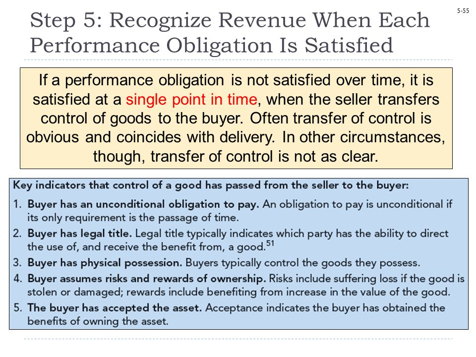 Step 5: Recognize Revenue When Each Performance Obligation Is Satisfied