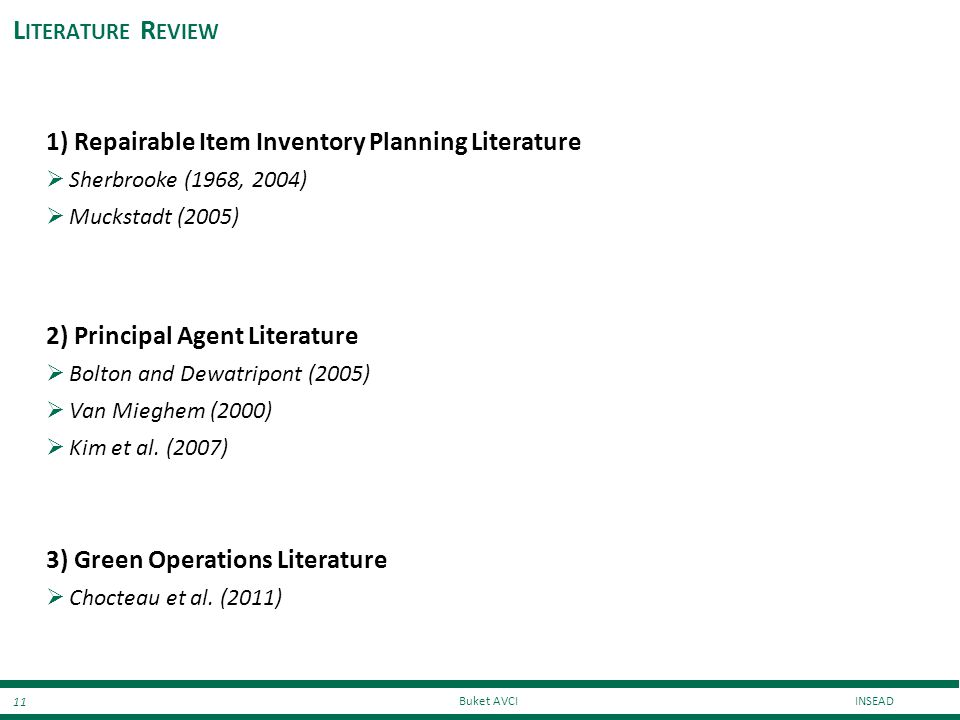 Literature Review 1) Repairable Item Inventory Planning Literature