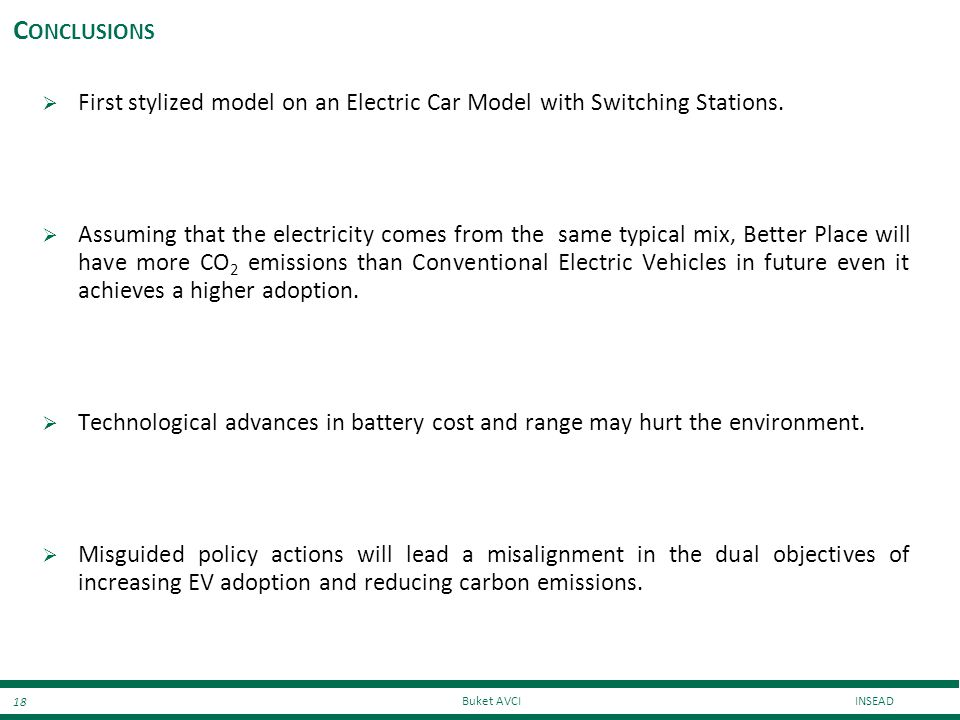 Conclusions First stylized model on an Electric Car Model with Switching Stations.