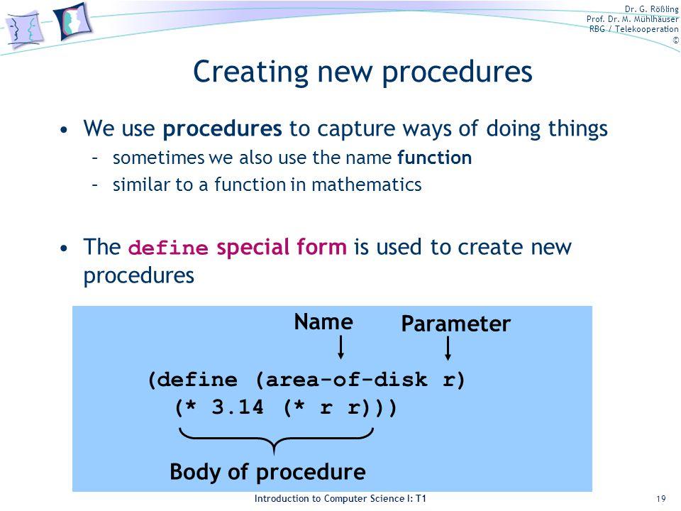 Creating new procedures