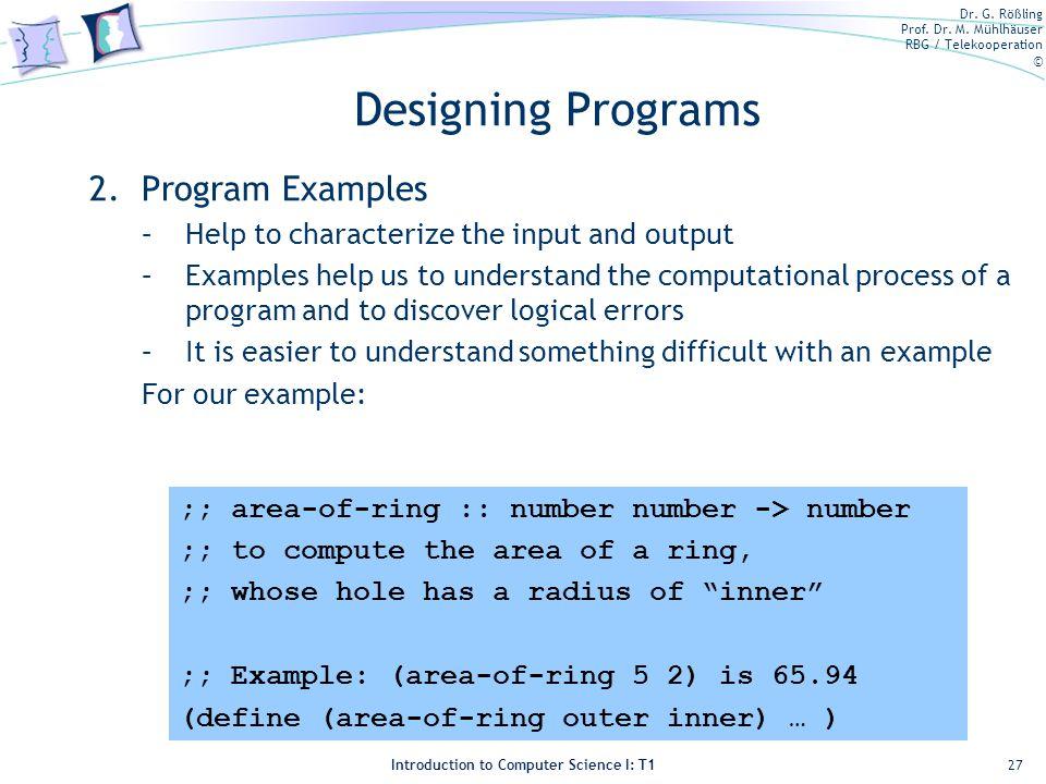 Designing Programs Program Examples