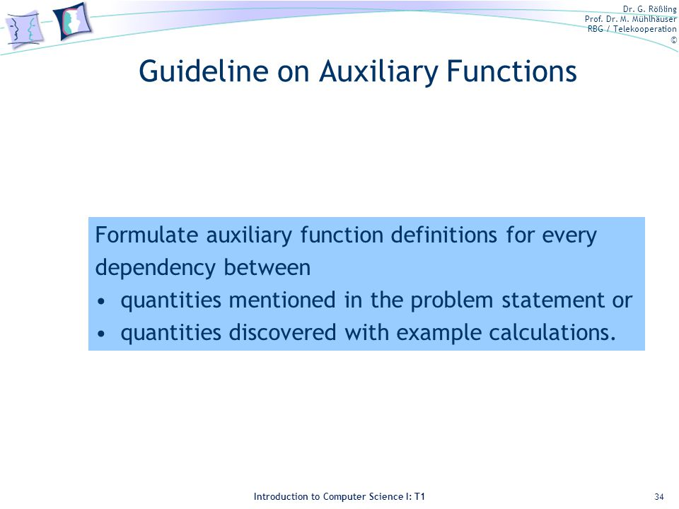 Guideline on Auxiliary Functions
