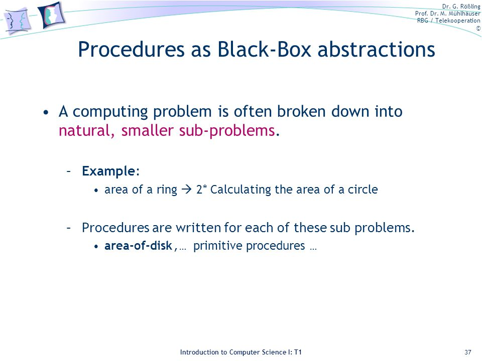 Procedures as Black-Box abstractions