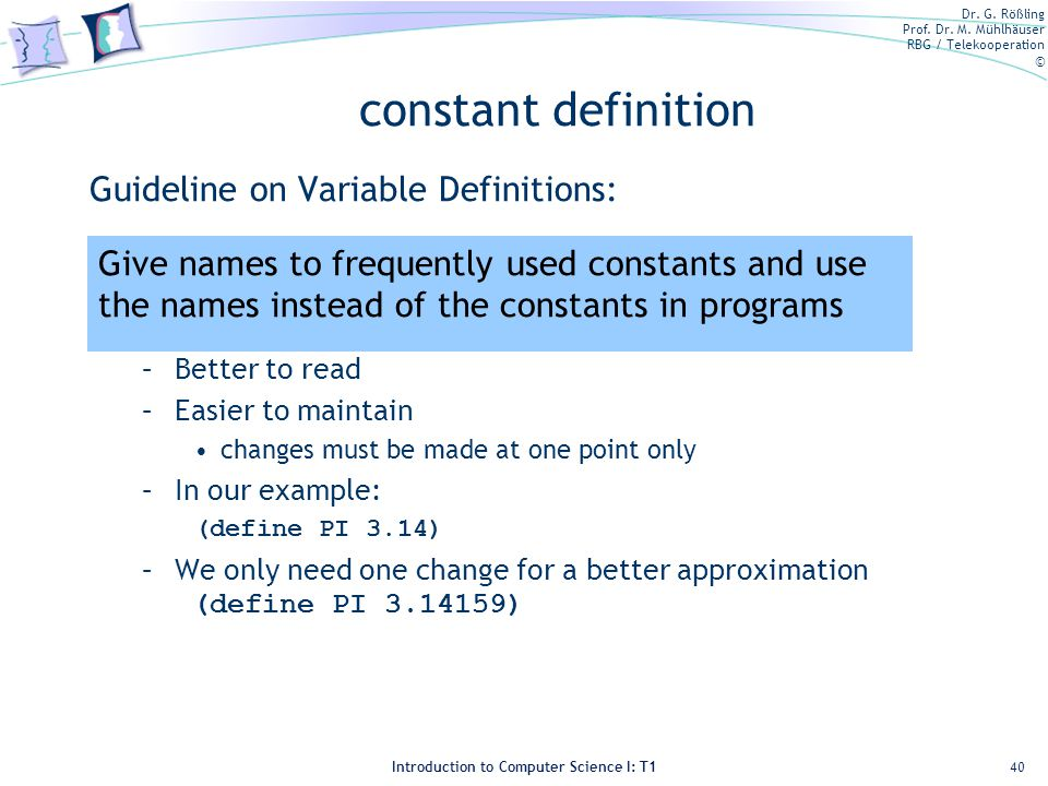 constant definition Guideline on Variable Definitions: