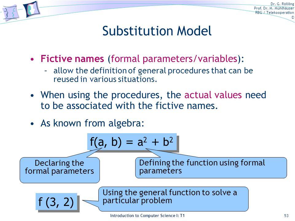 Declaring the formal parameters