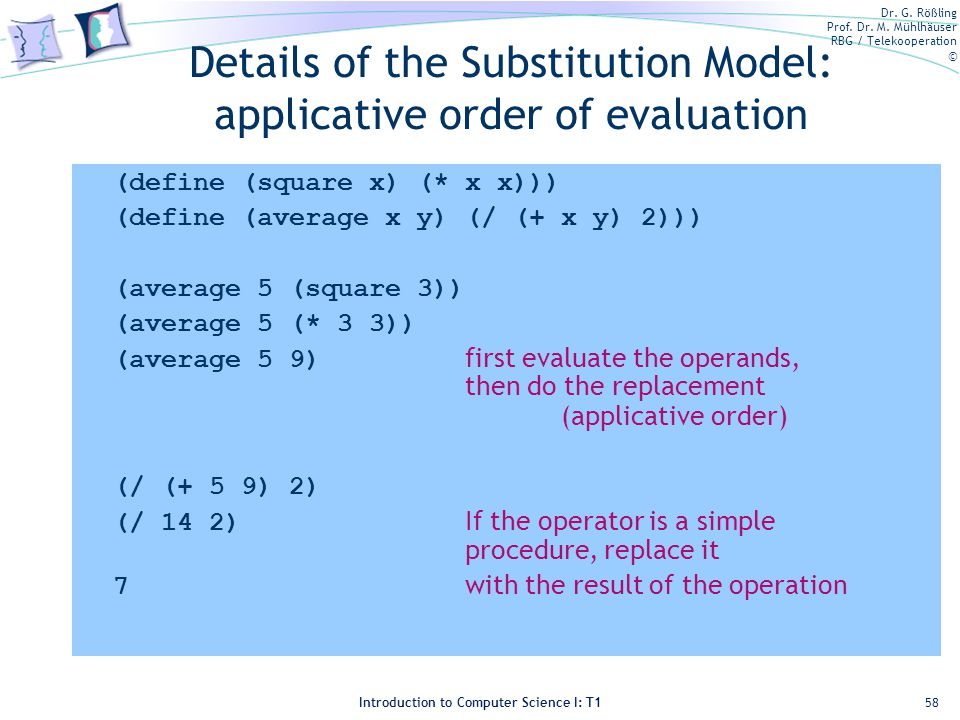 Details of the Substitution Model: applicative order of evaluation