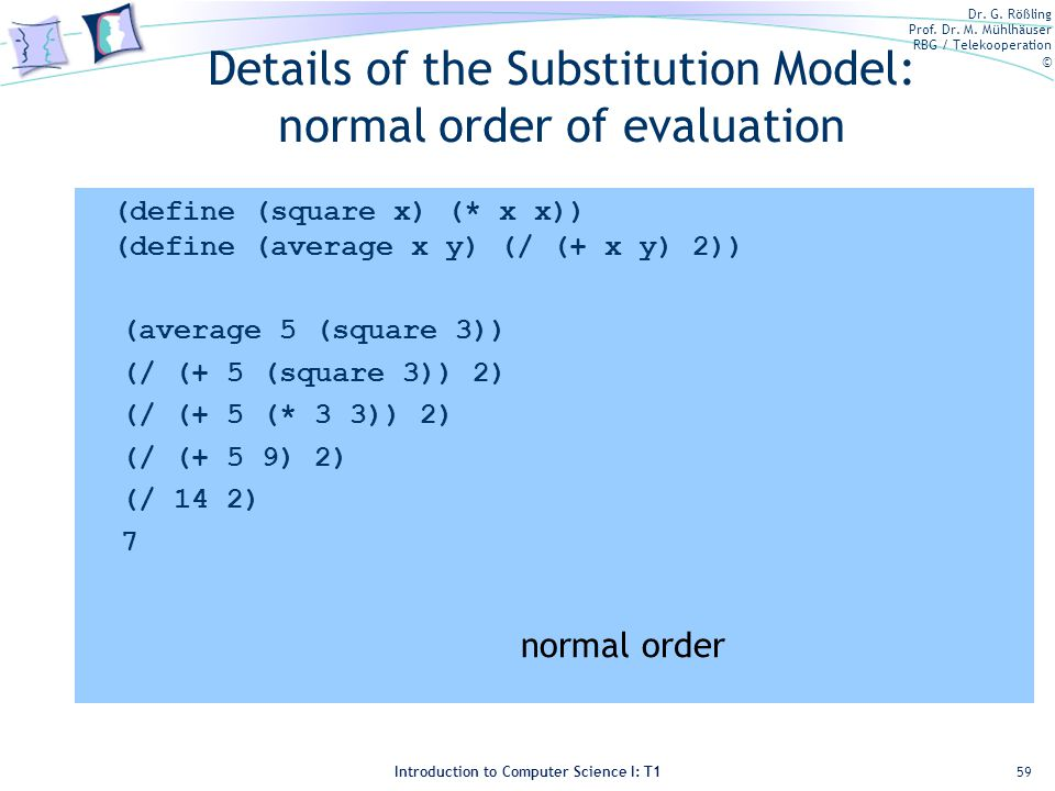 Details of the Substitution Model: normal order of evaluation