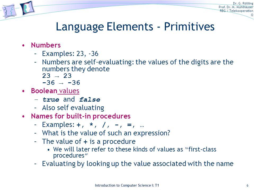 Language Elements - Primitives