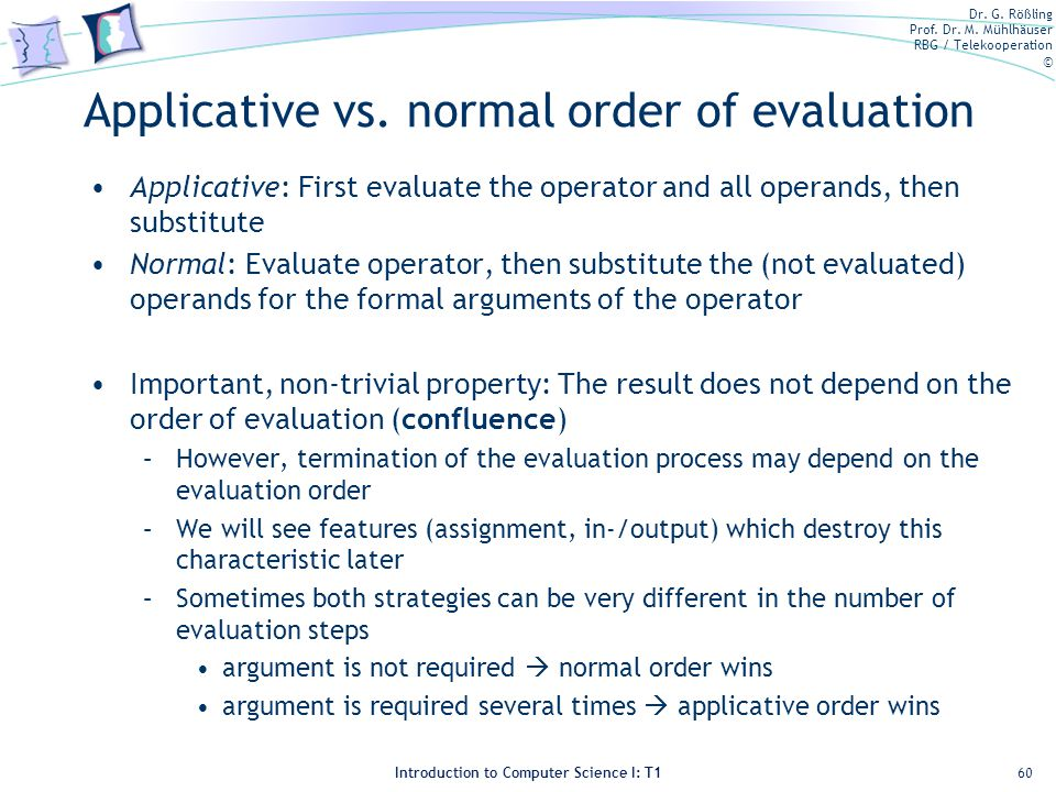 Applicative vs. normal order of evaluation