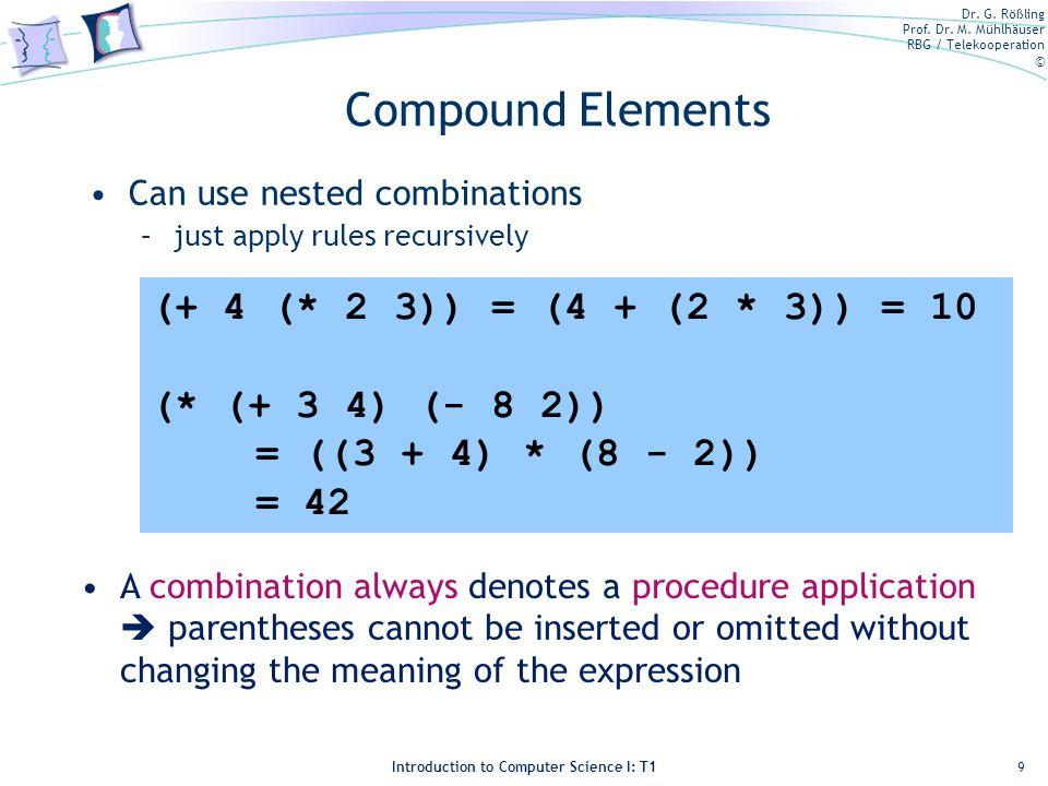 Compound Elements (+ 4 (* 2 3)) = (4 + (2 * 3)) = 10