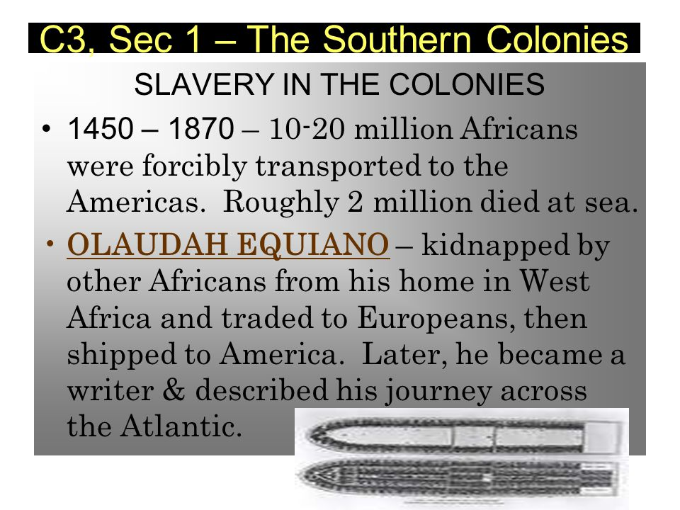 slavery in the southern american colonies Unbeknownst to many americans, most of the slaves shipped overseas  also  it's important to note that many south american colonies used.