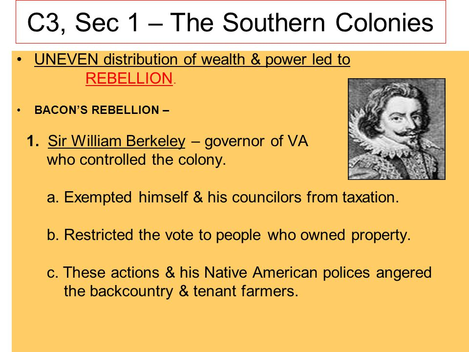 C3, Sec 1 – The Southern Colonies