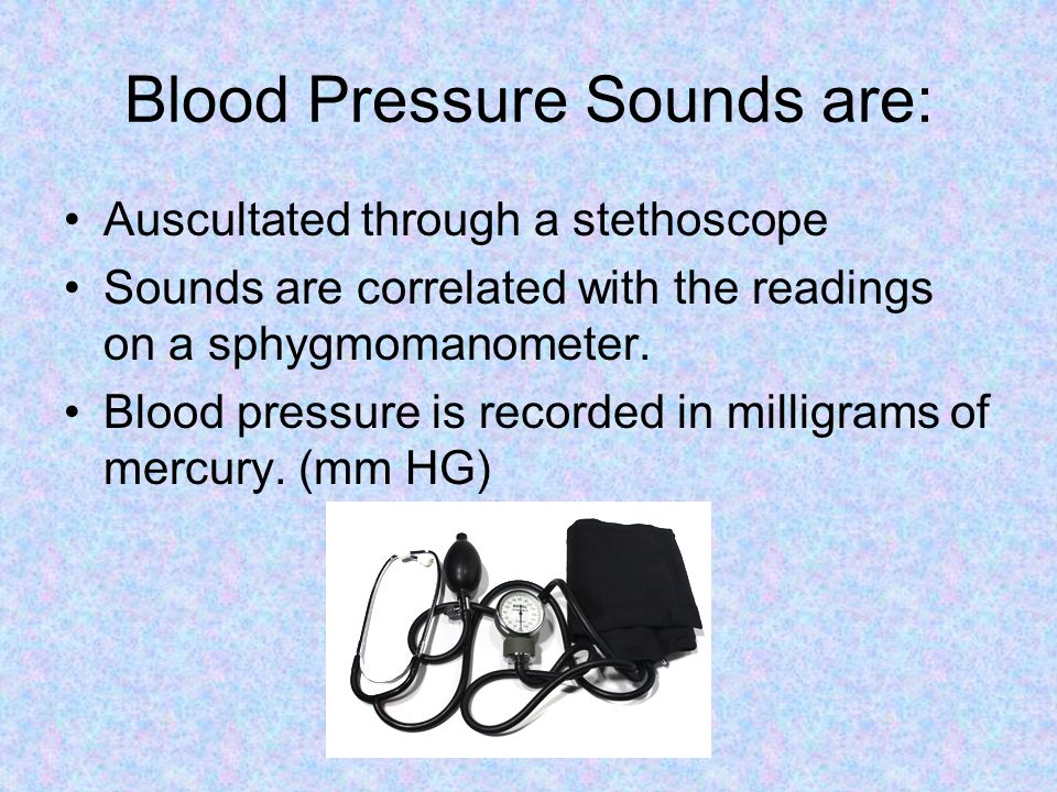 Blood Pressure Sounds are: