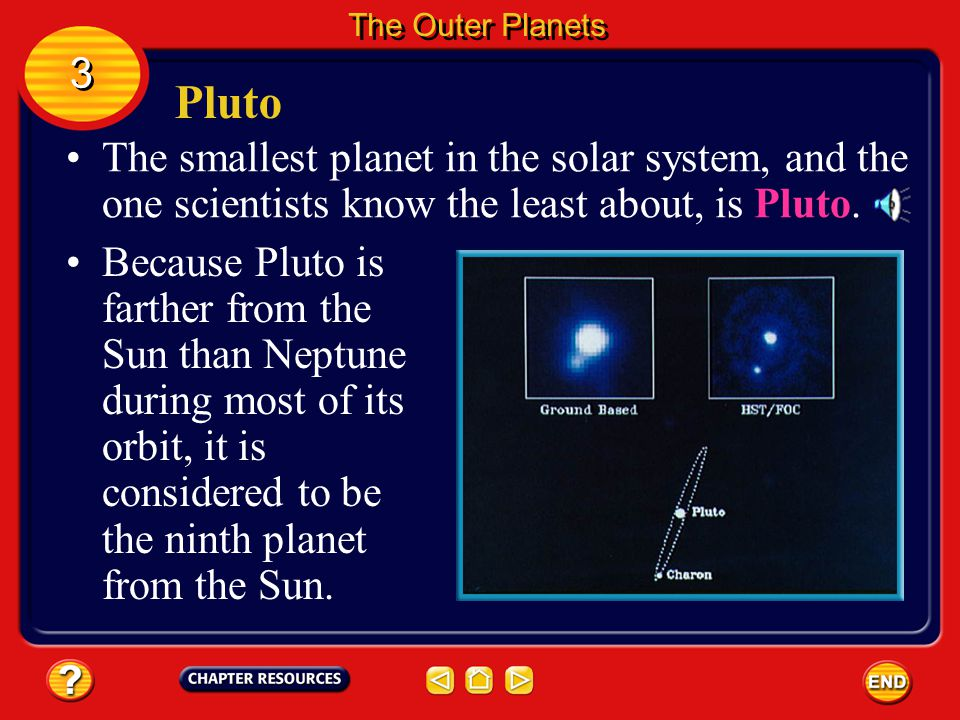 The Outer Planets 3. Pluto. The smallest planet in the solar system, and the one scientists know the least about, is Pluto.