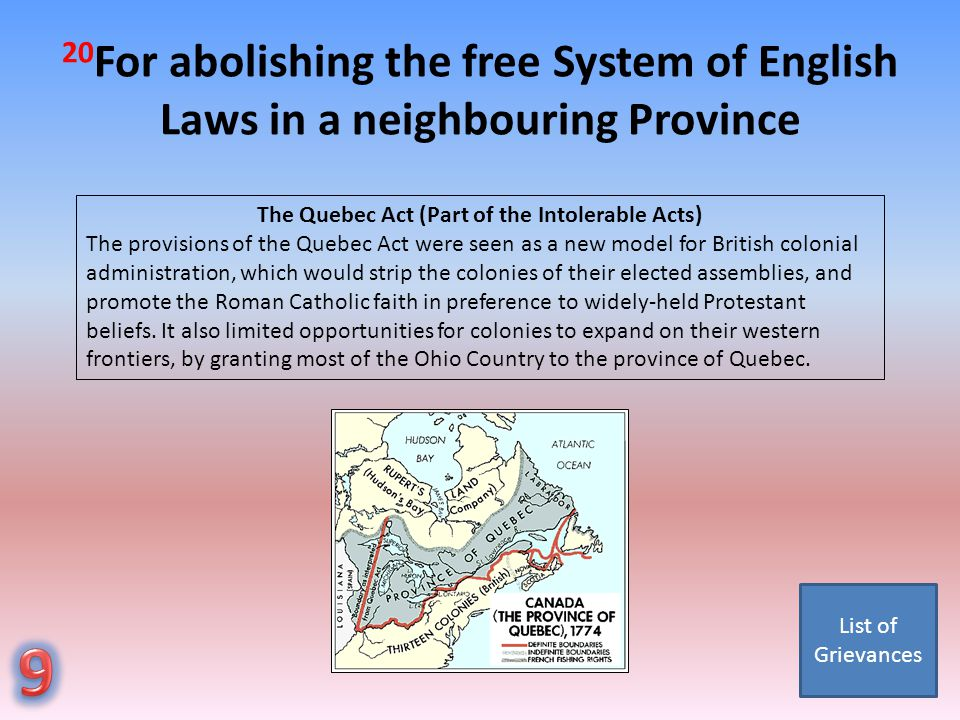 The Quebec Act (Part of the Intolerable Acts)