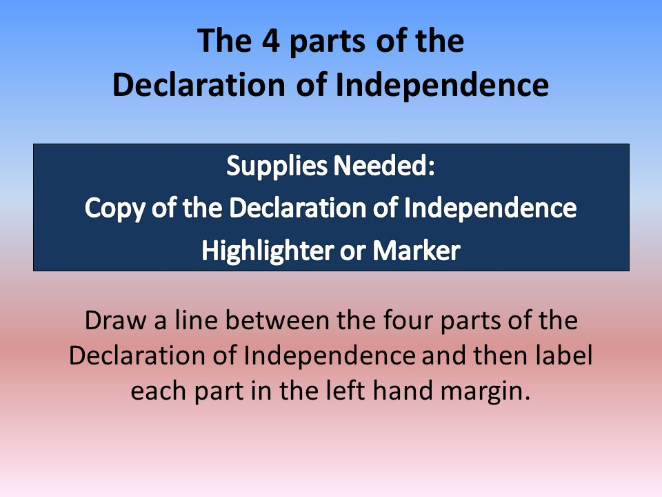 The 4 parts of the Declaration of Independence