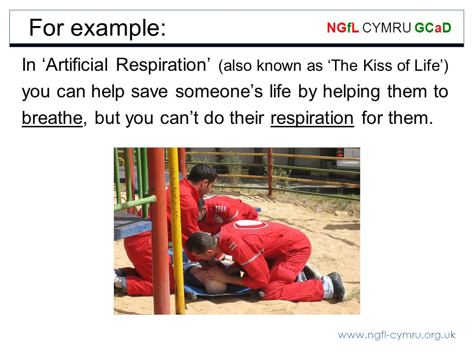 For example: In 'Artificial Respiration' (also known as 'The Kiss of Life') you can help save someone's life by helping them to.