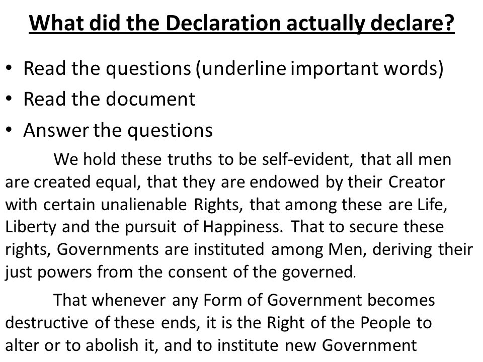 What did the Declaration actually declare