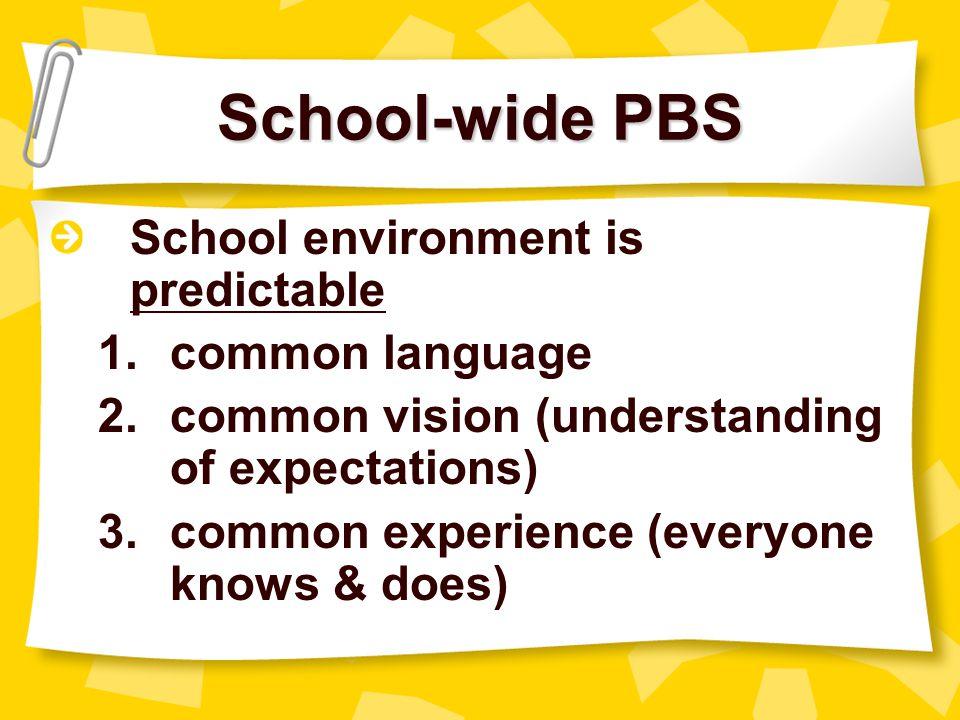 School-wide PBS School environment is predictable common language