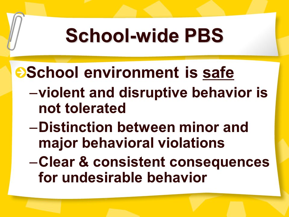 School-wide PBS School environment is safe