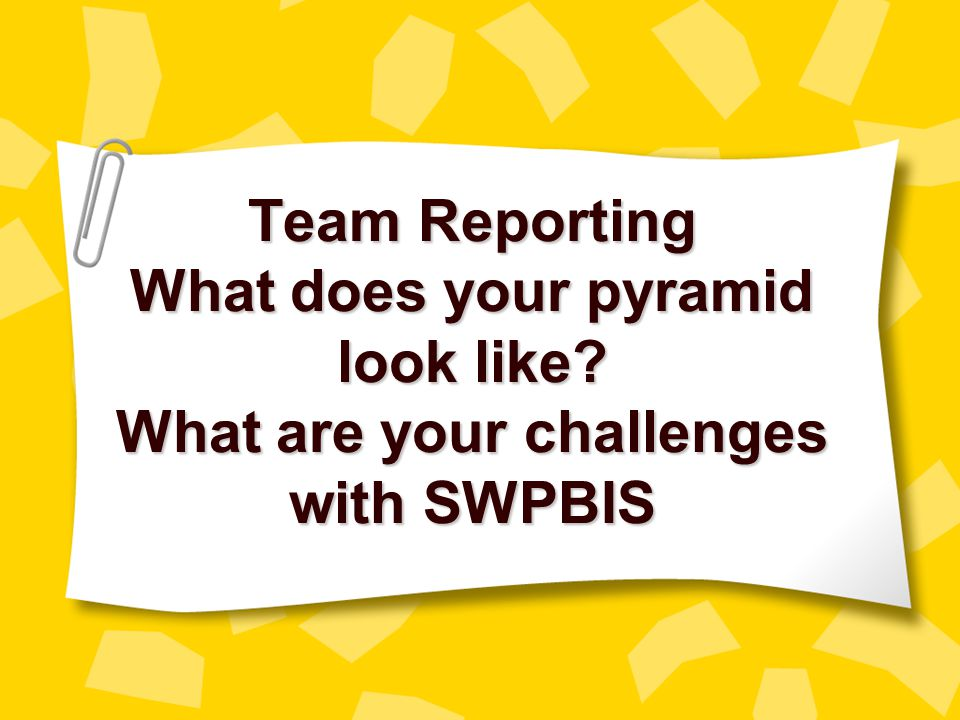 Team Reporting What does your pyramid look like
