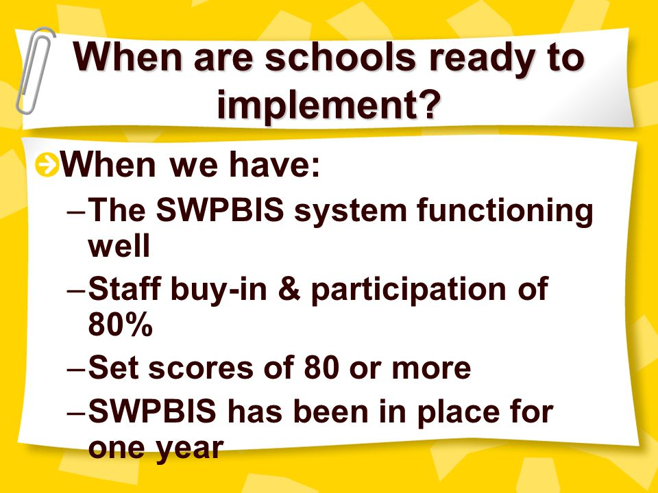 When are schools ready to implement