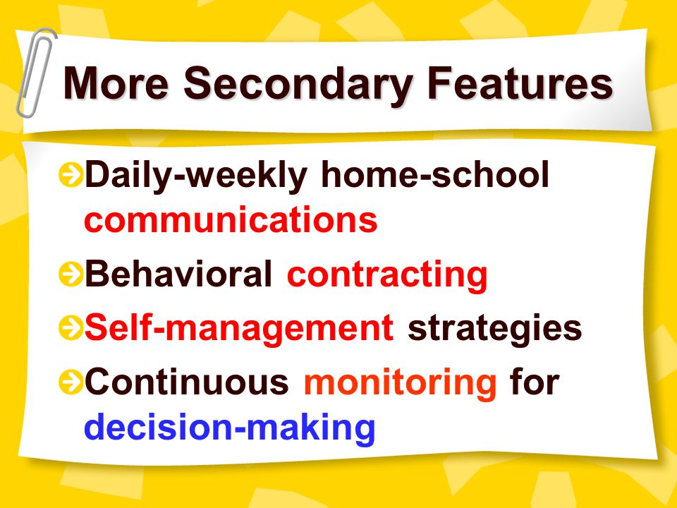 More Secondary Features