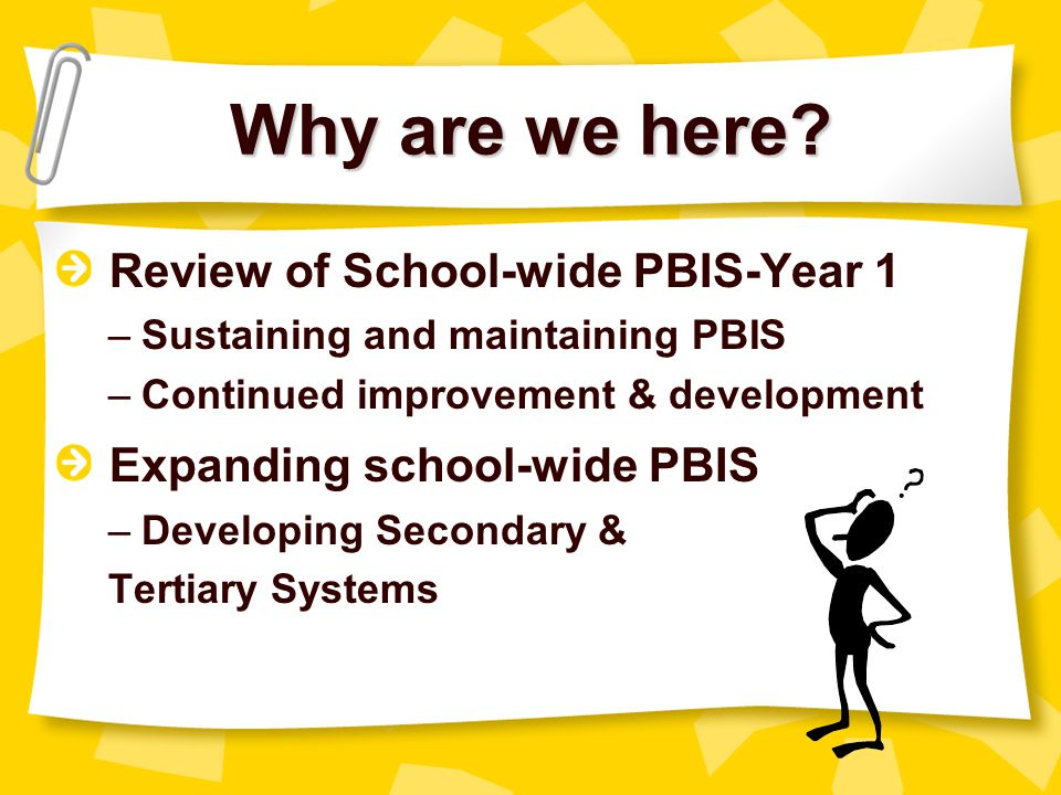 Why are we here Review of School-wide PBIS-Year 1
