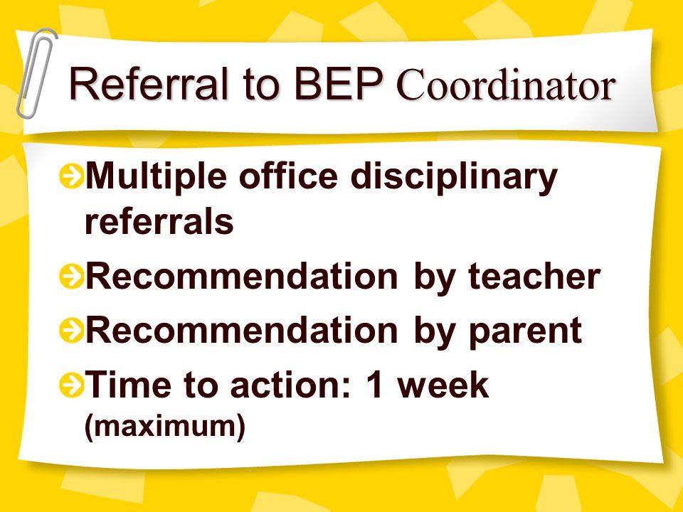 Referral to BEP Coordinator