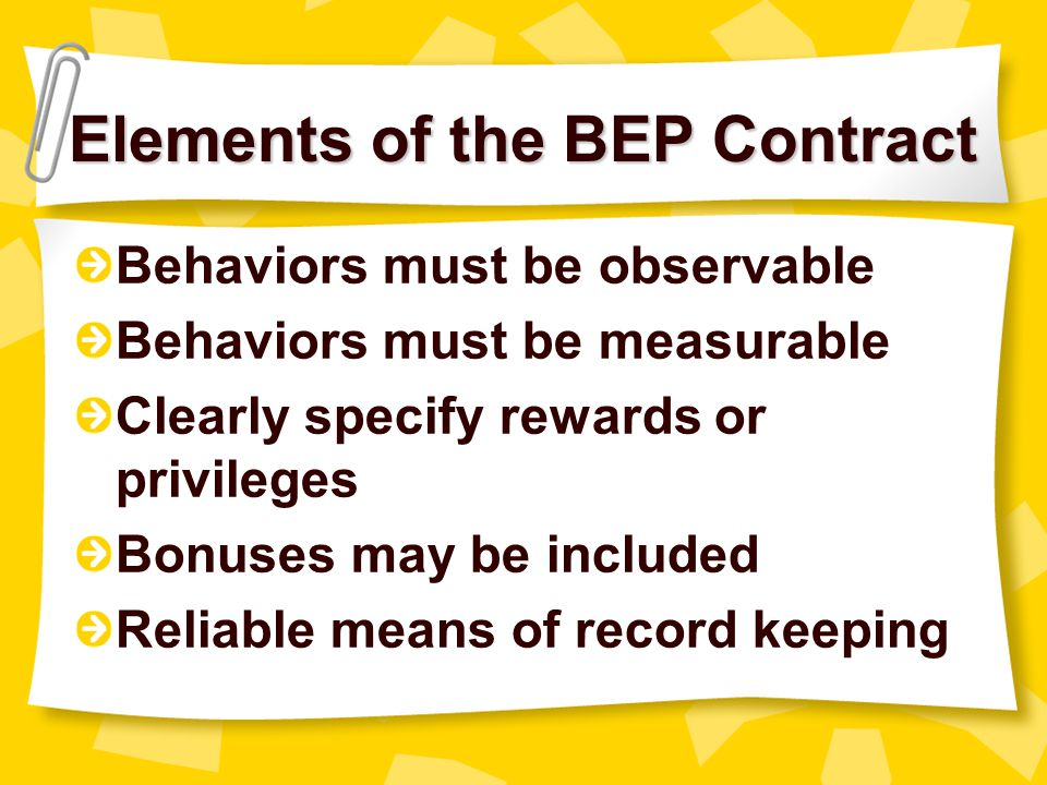 Elements of the BEP Contract
