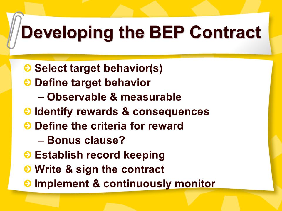 Developing the BEP Contract